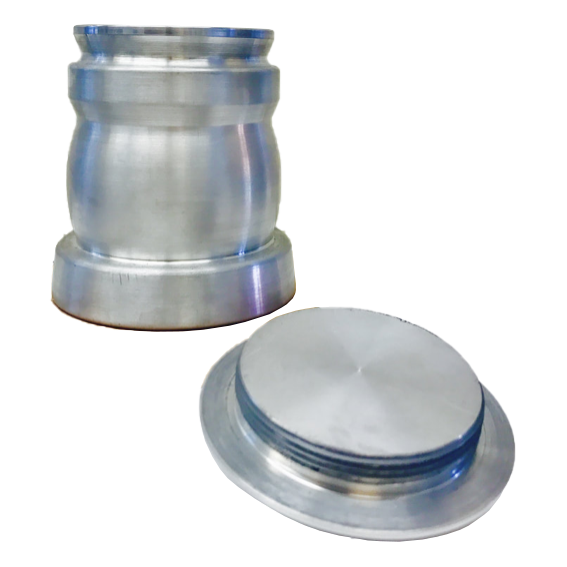 Aluminum urn with lid off
